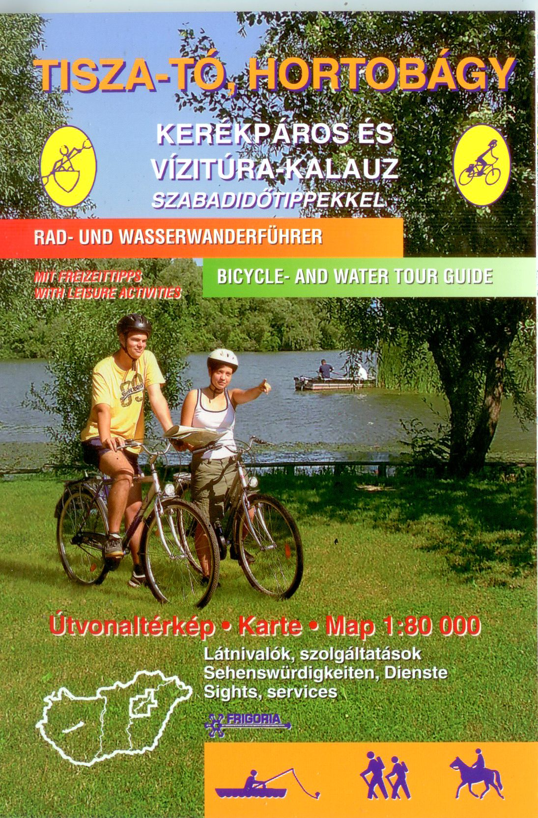 The atlas contains 22 water routes with photos and text in 3 languages (Hungarian, English, German)