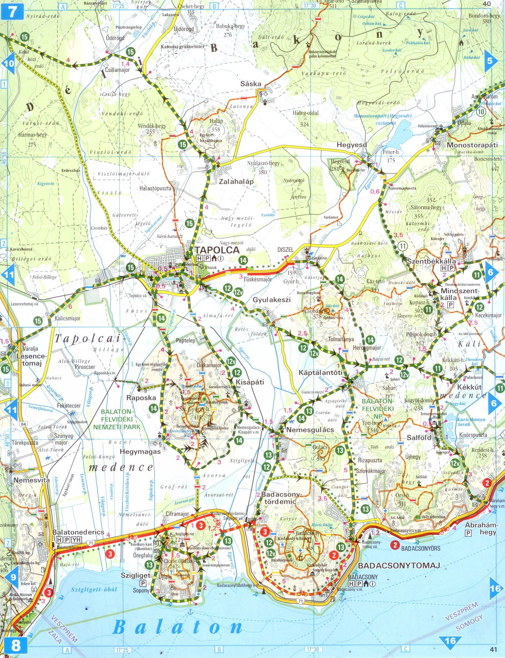 Balaton biking atlas sample map 1:80.000