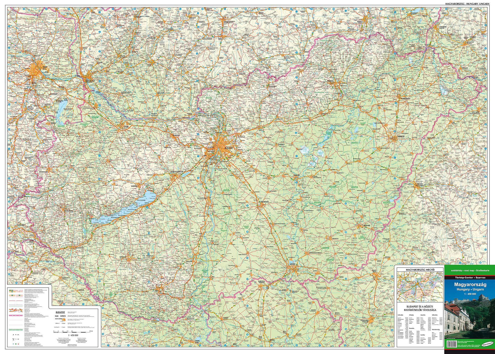 Detailed GPS compatible road map of Hungary for mobile devices