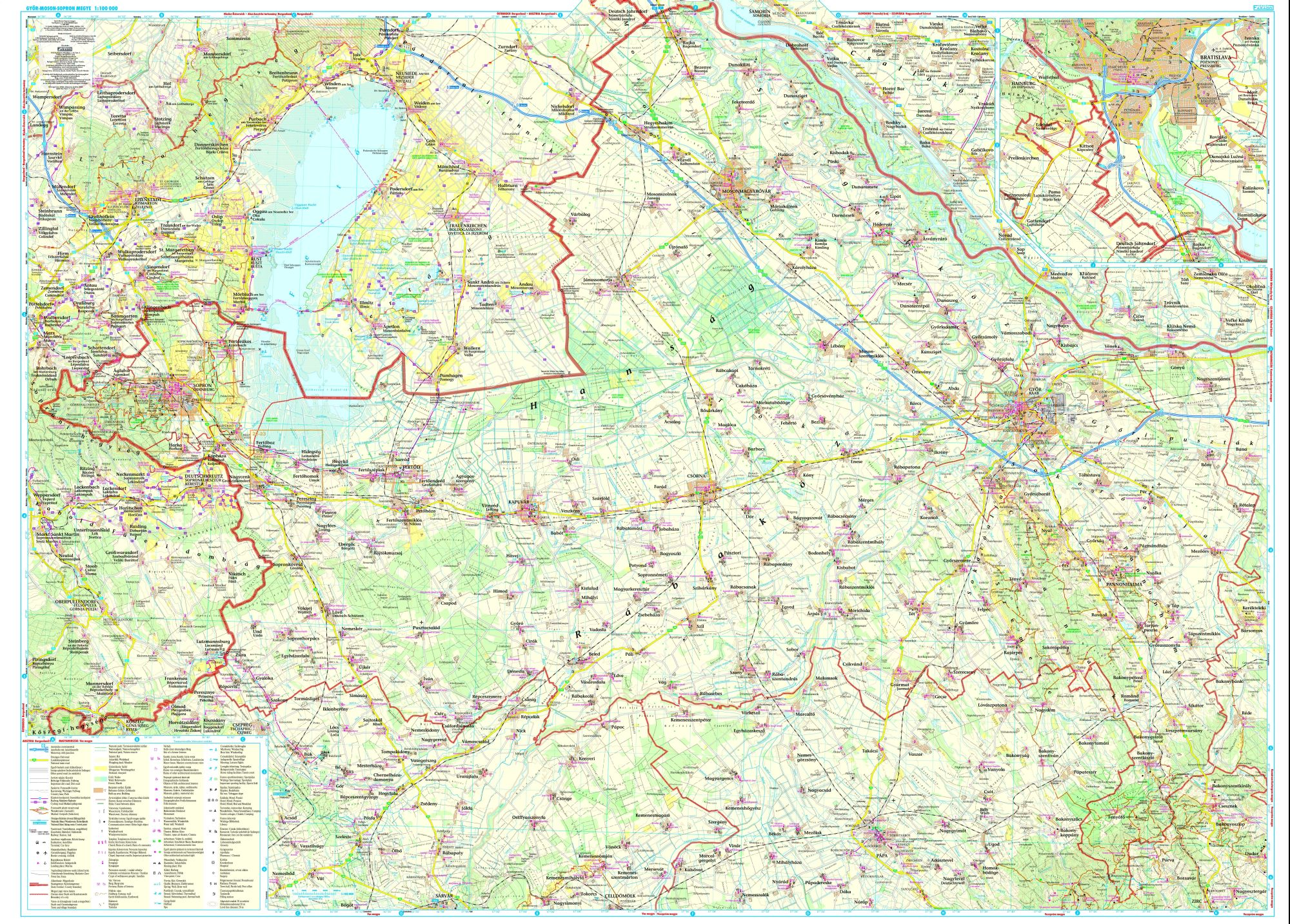 Győr-Moson-Sopron county: area covered by the main map 1:100.000