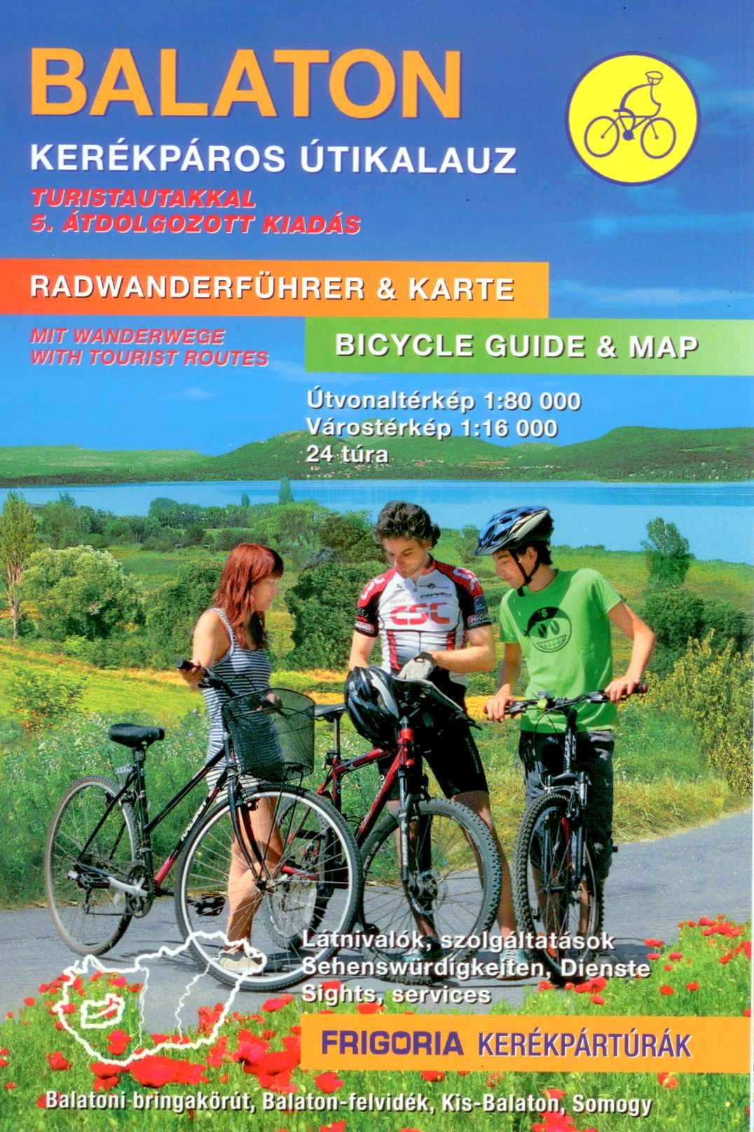 Bicycle atlas and guide of Balaton and surroundings. Format: A5, 144 pages, spiralbound Detailed info also in English and German