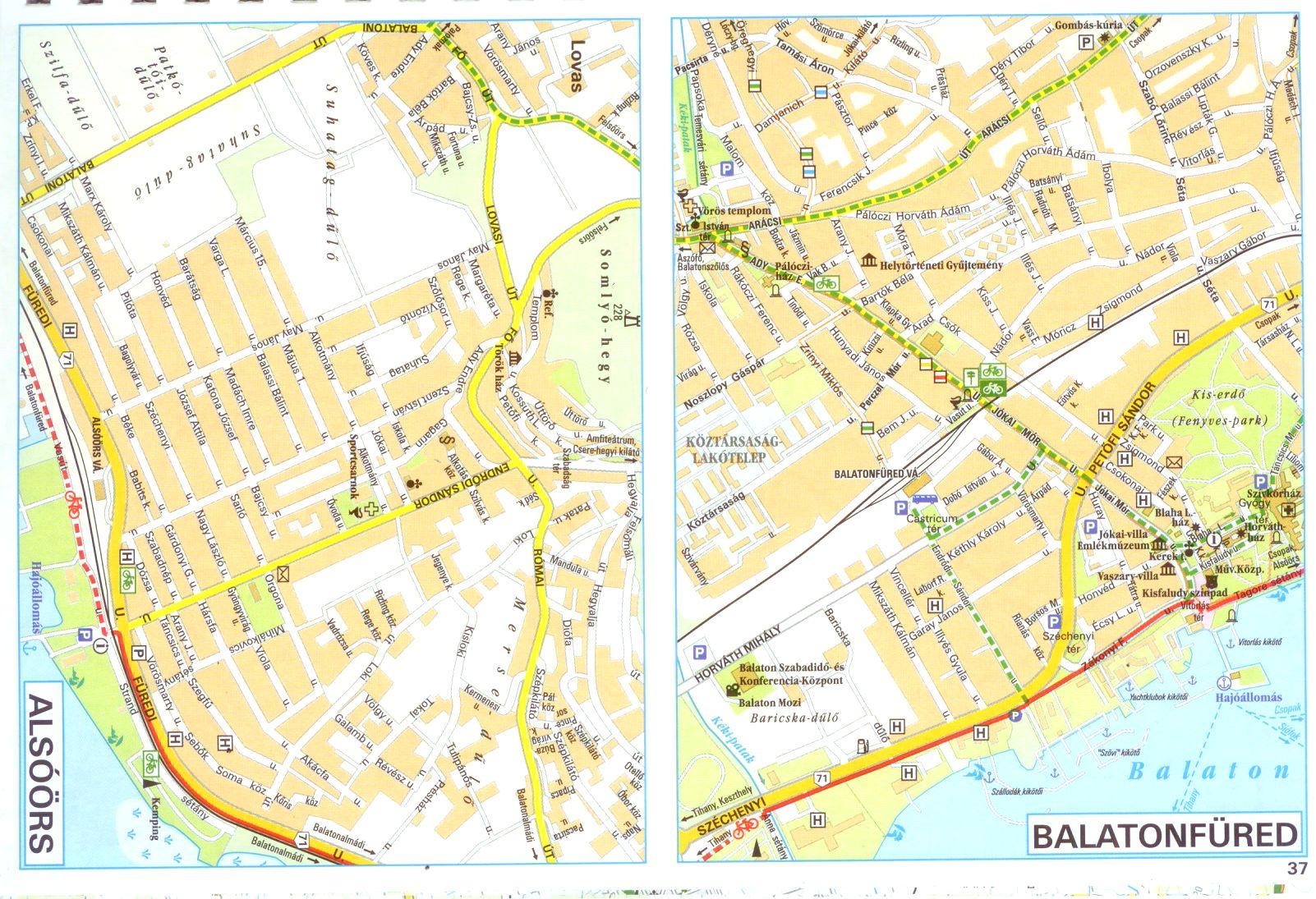Balaton biking atlas sample city maps