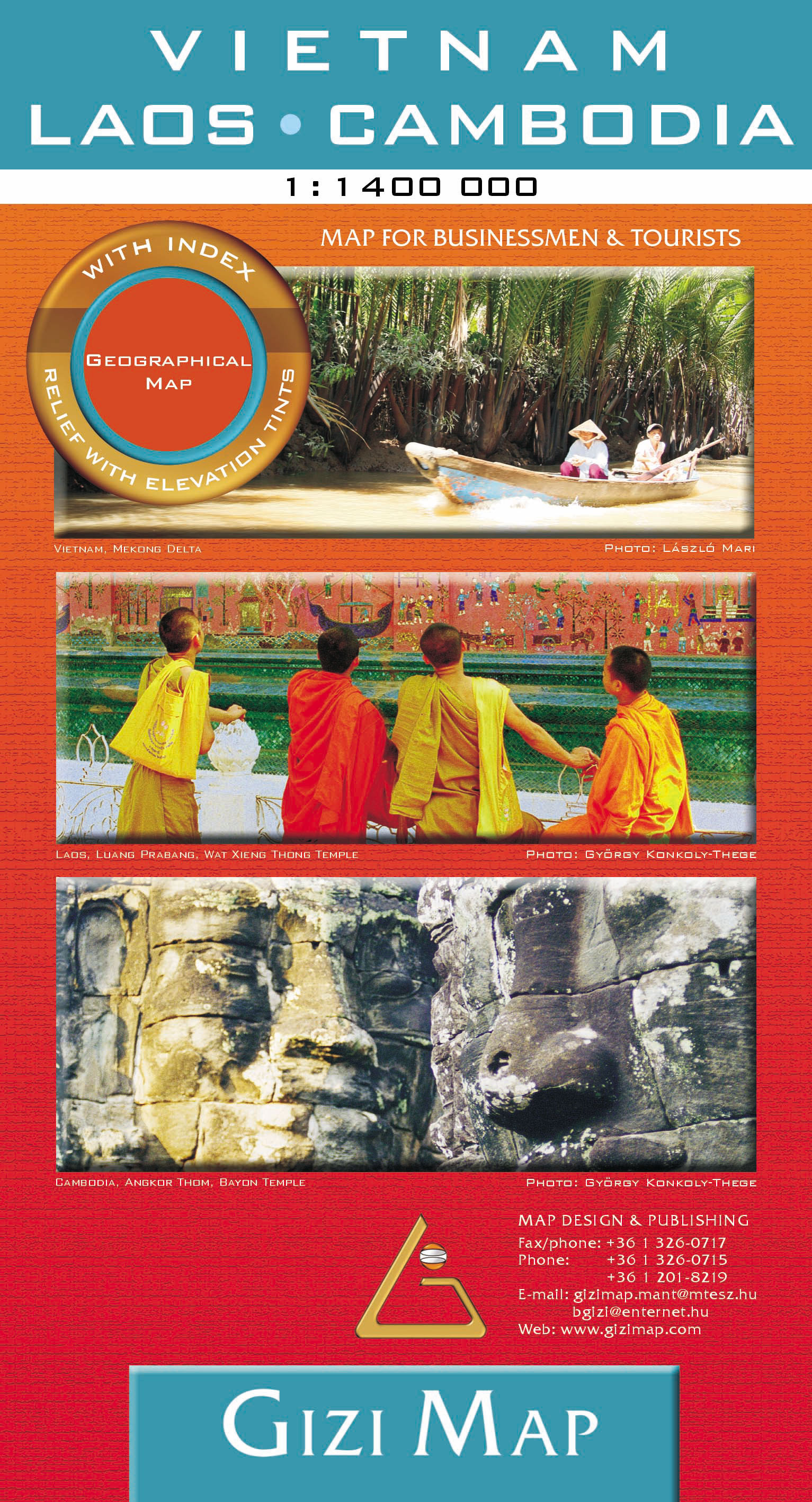 Vietnam, Laos, Cambodia road map with geographical colouring and tourist info. Fully indexed