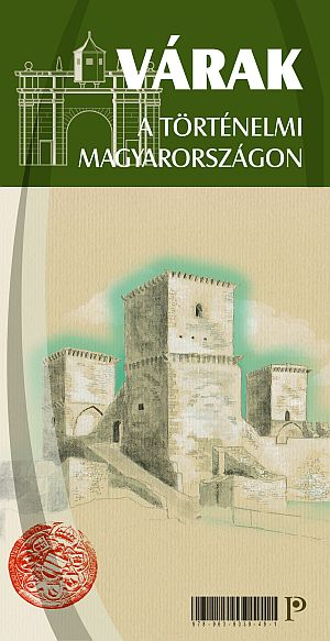 Large format illustrated map of castles in historical Hungary (Carpathian-Pannonian area)