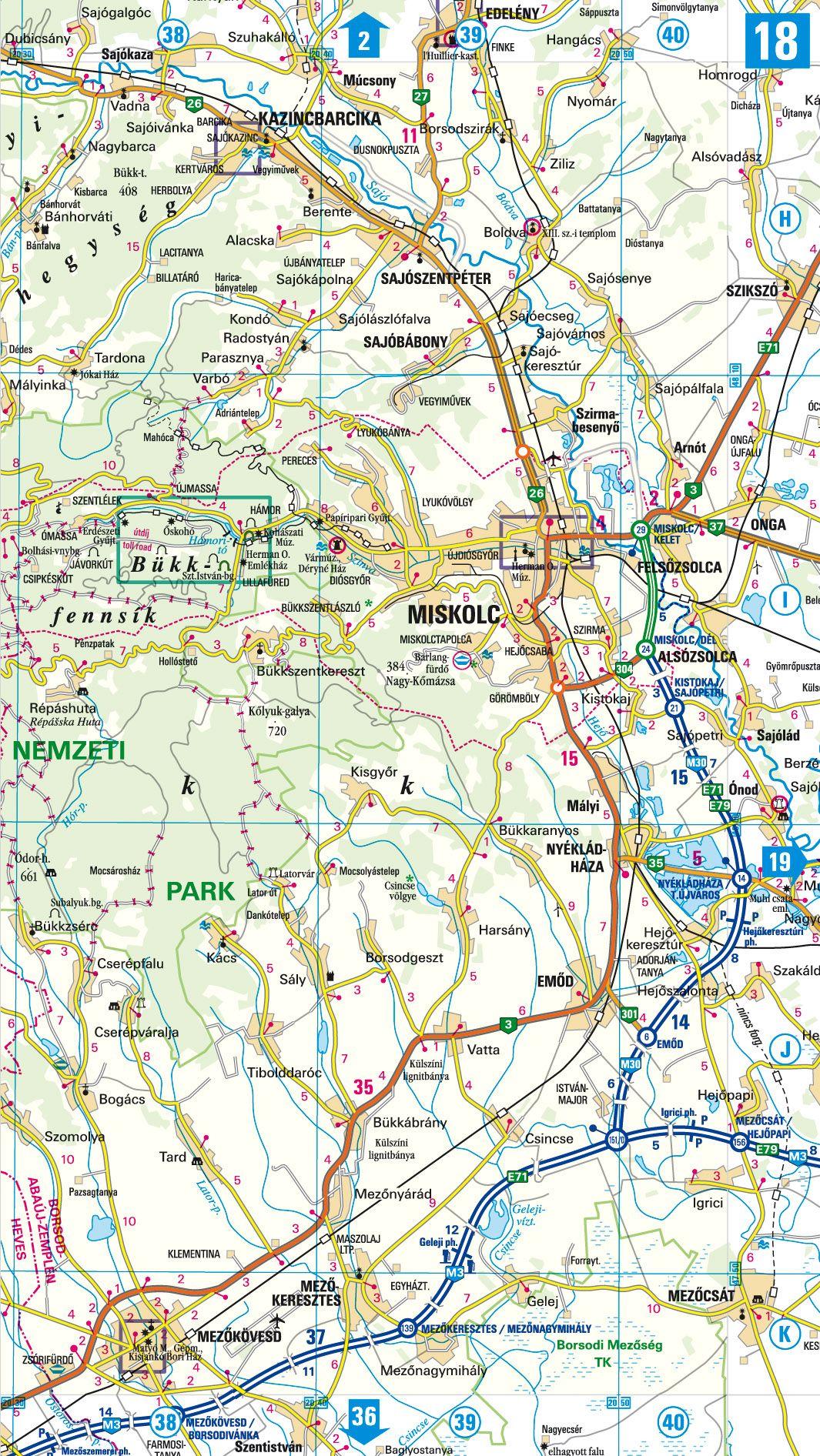 Magyarország autóatlasza: 1:250.000 mintatérkép
