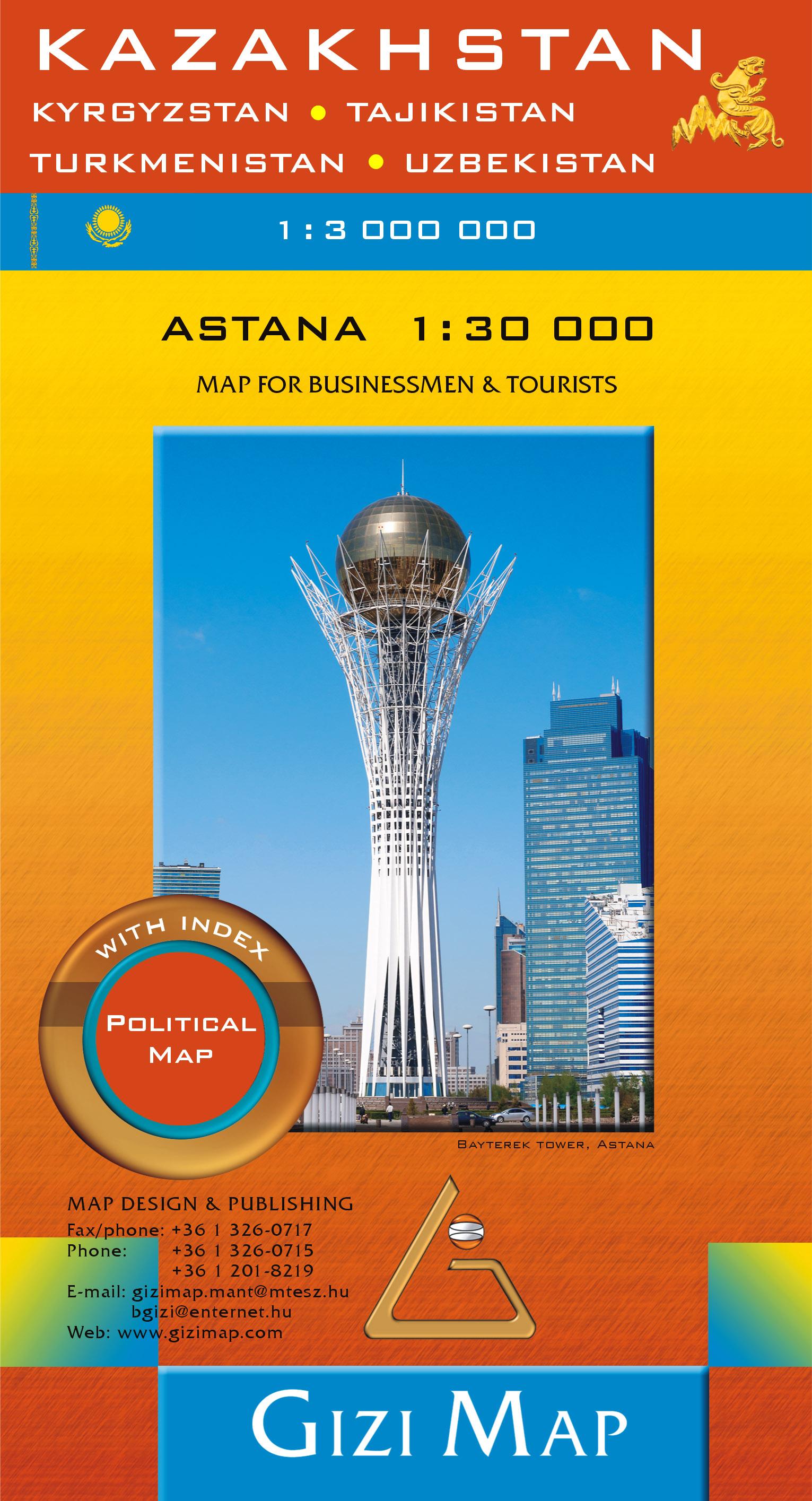 Inset map: Astana. Including also Kyrgyzstan, Uzbekistan, Turkmenistan, Tajikistan