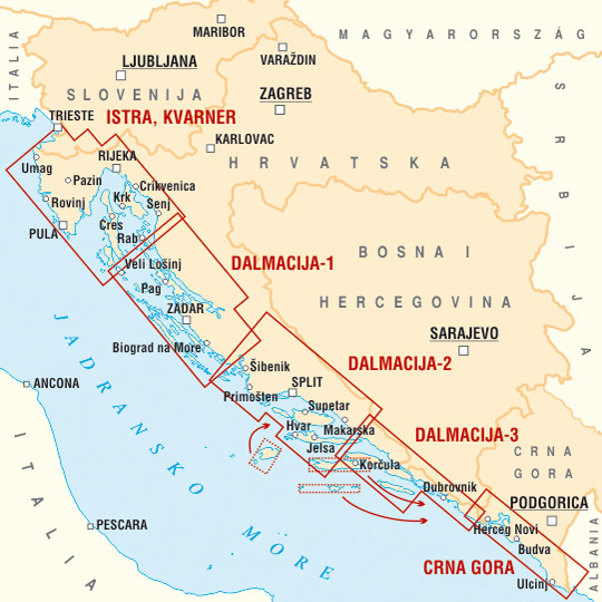 Horvát tengerpart (Adria) áttekintőtérképe