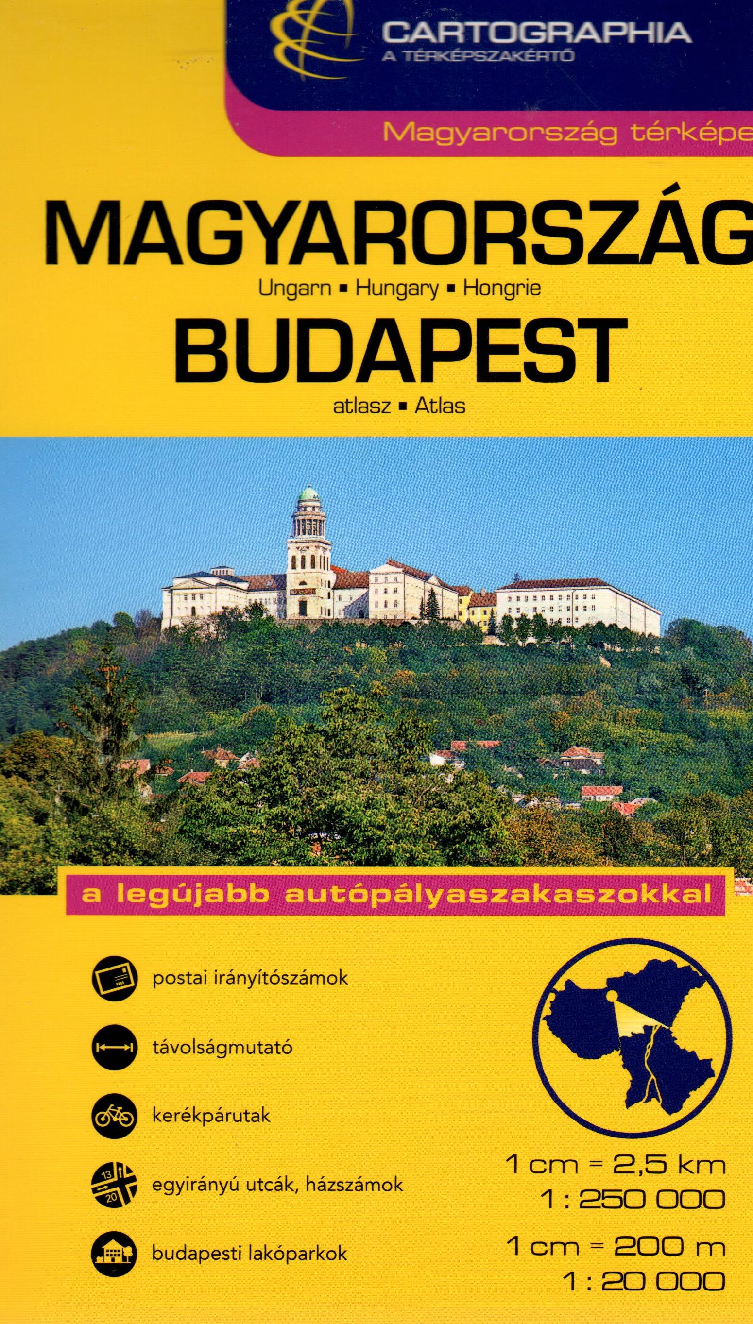 Fully indexed combined atlas Budapest + Hungary  in one spiral bound band 15 x 24 cm