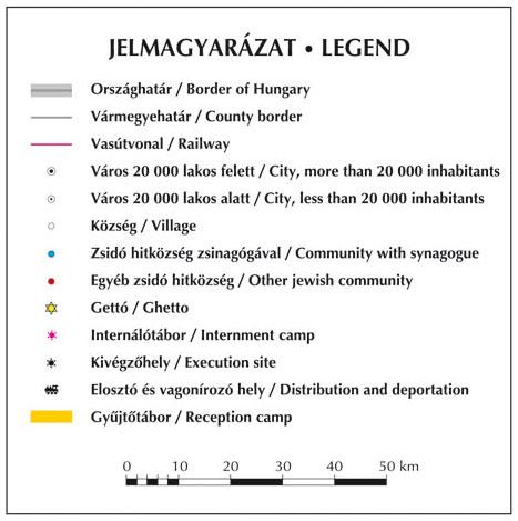 Holocaust Magyarország térkép jelmagyarázat