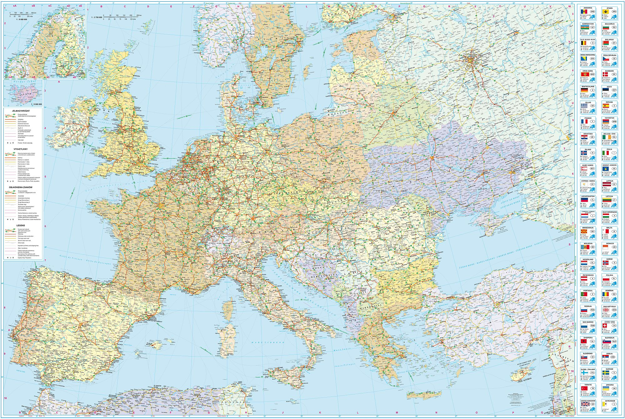Detailed GPS compatible Europe road map for mobile devices