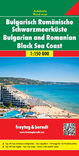 Romanian-Bulgarian Black Sea Coast tourist info map with city maps and index