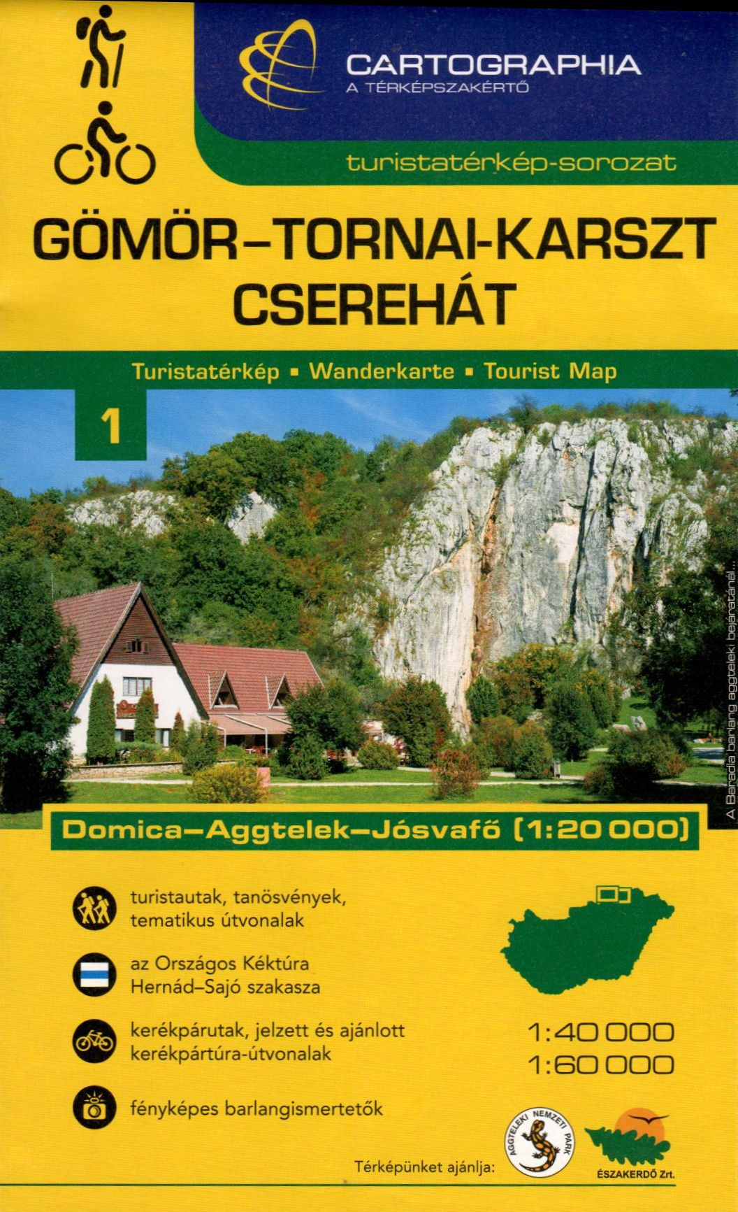 Aggtelek (Gömör-Torna) mountains and environs tourist and biking map with detailed scheme of the World heritage Aggtelek cave. Inset map of the Cserehát mountains.