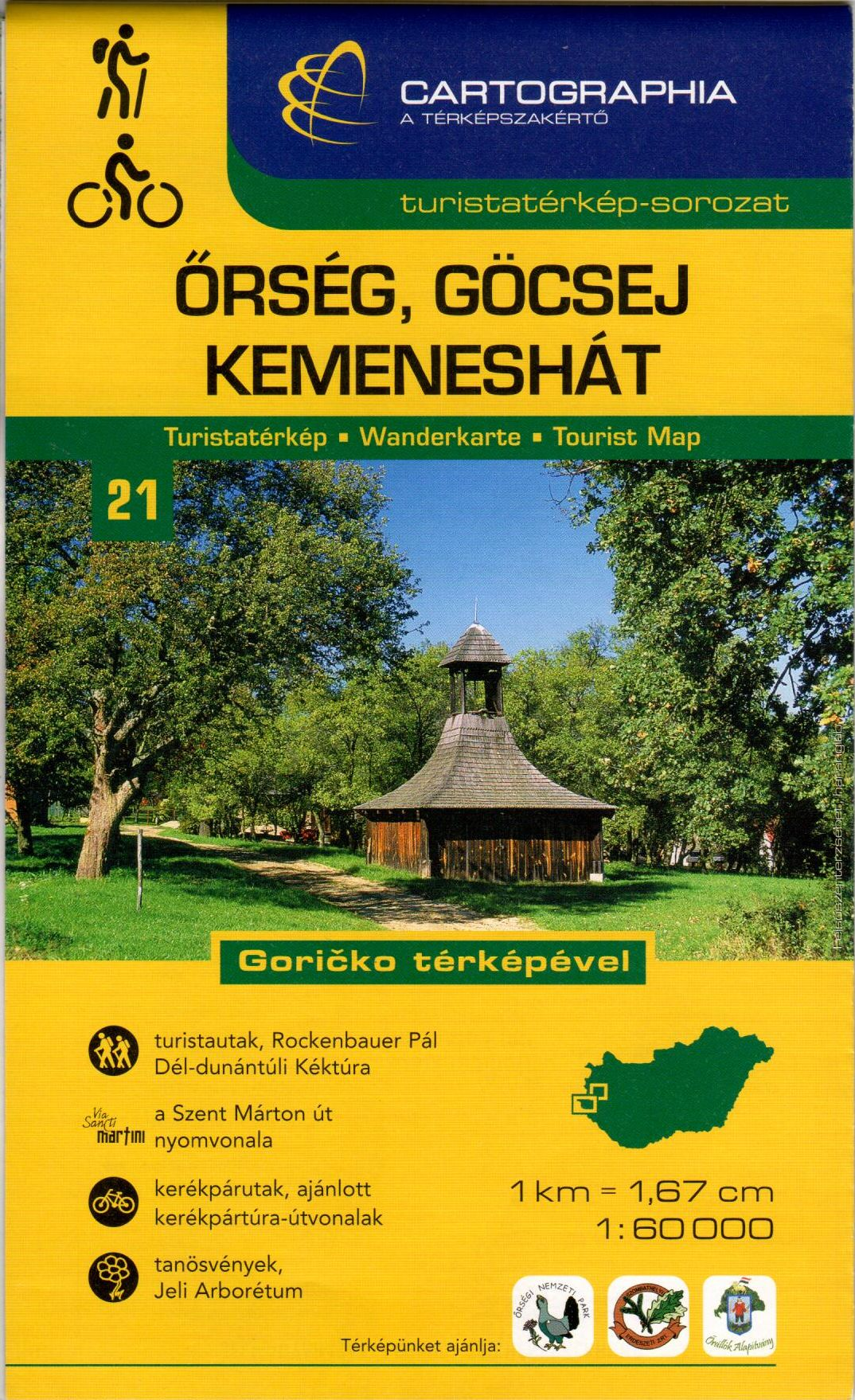 Two sided tourist map. Kemeneshát is on one side, and Őrség-Göcsej on the back of the map