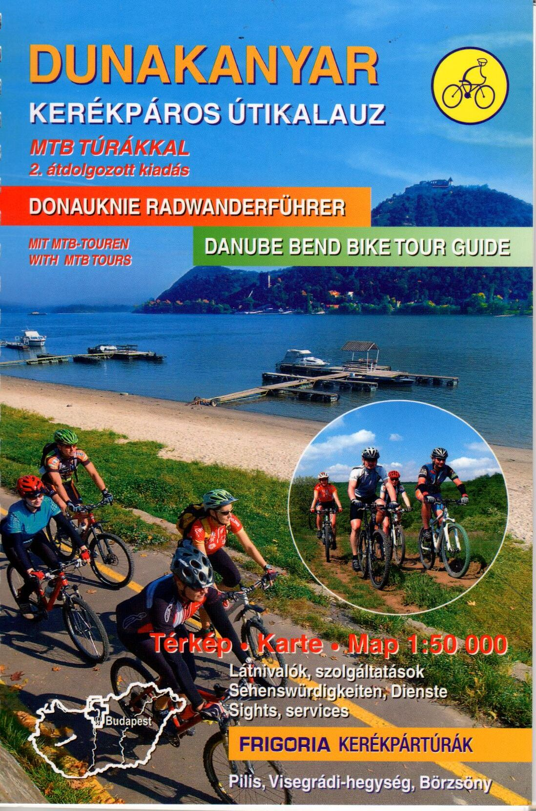 Danube bend (Pilis, Börzsöny, Naszály) biking atlas with spiral binding. Text in English and German, the legend includes alo Dutch explanations.