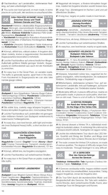 Biking atlas of Hungary sample text page