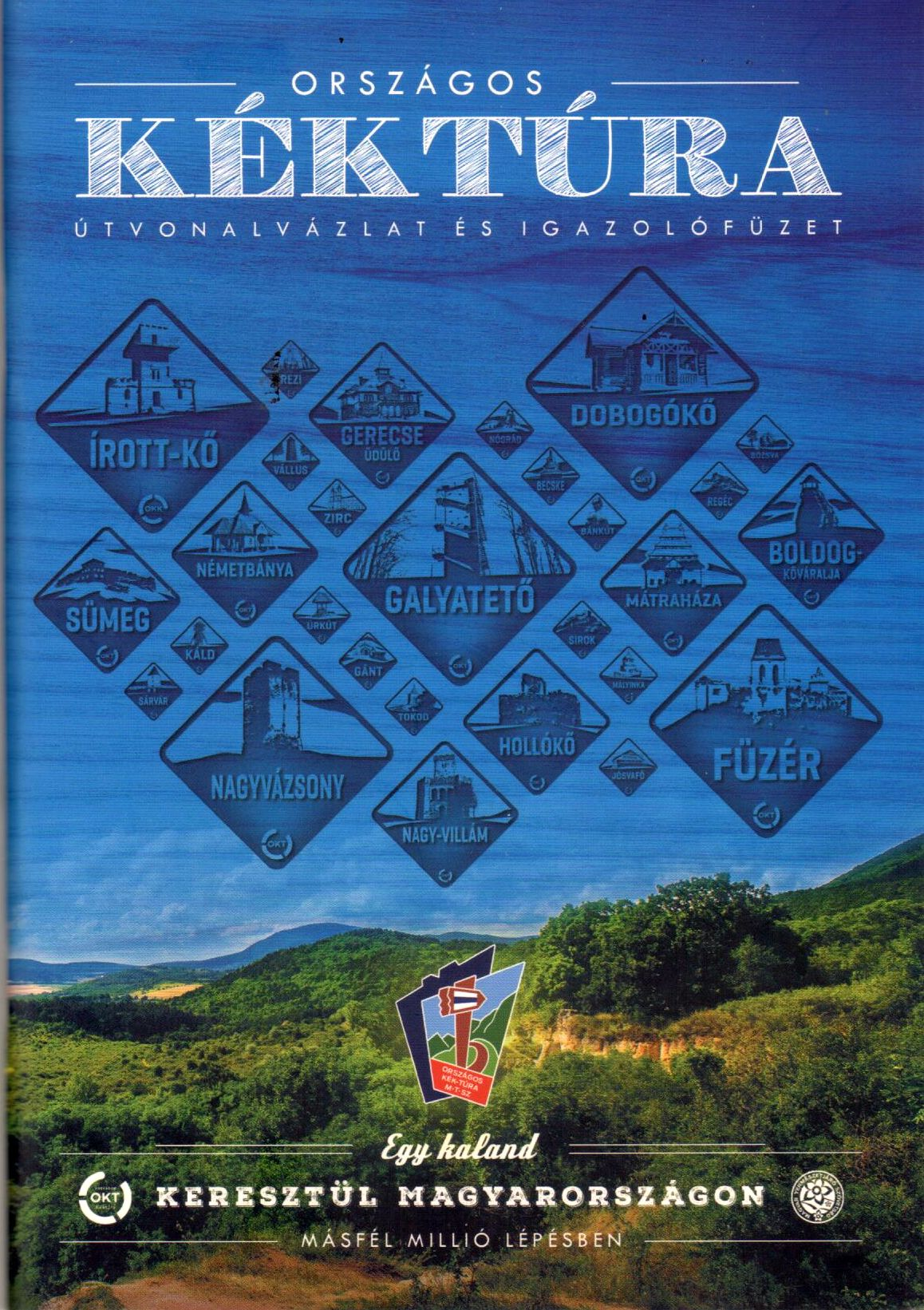 National (blue) hiking route control points with map sketches in Hungarian language