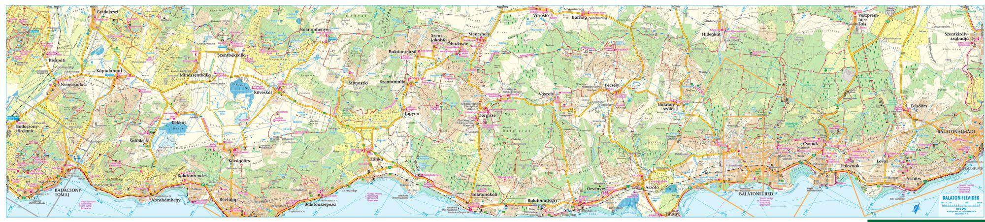 A Balaton-felvidék térkép által lefedett terület