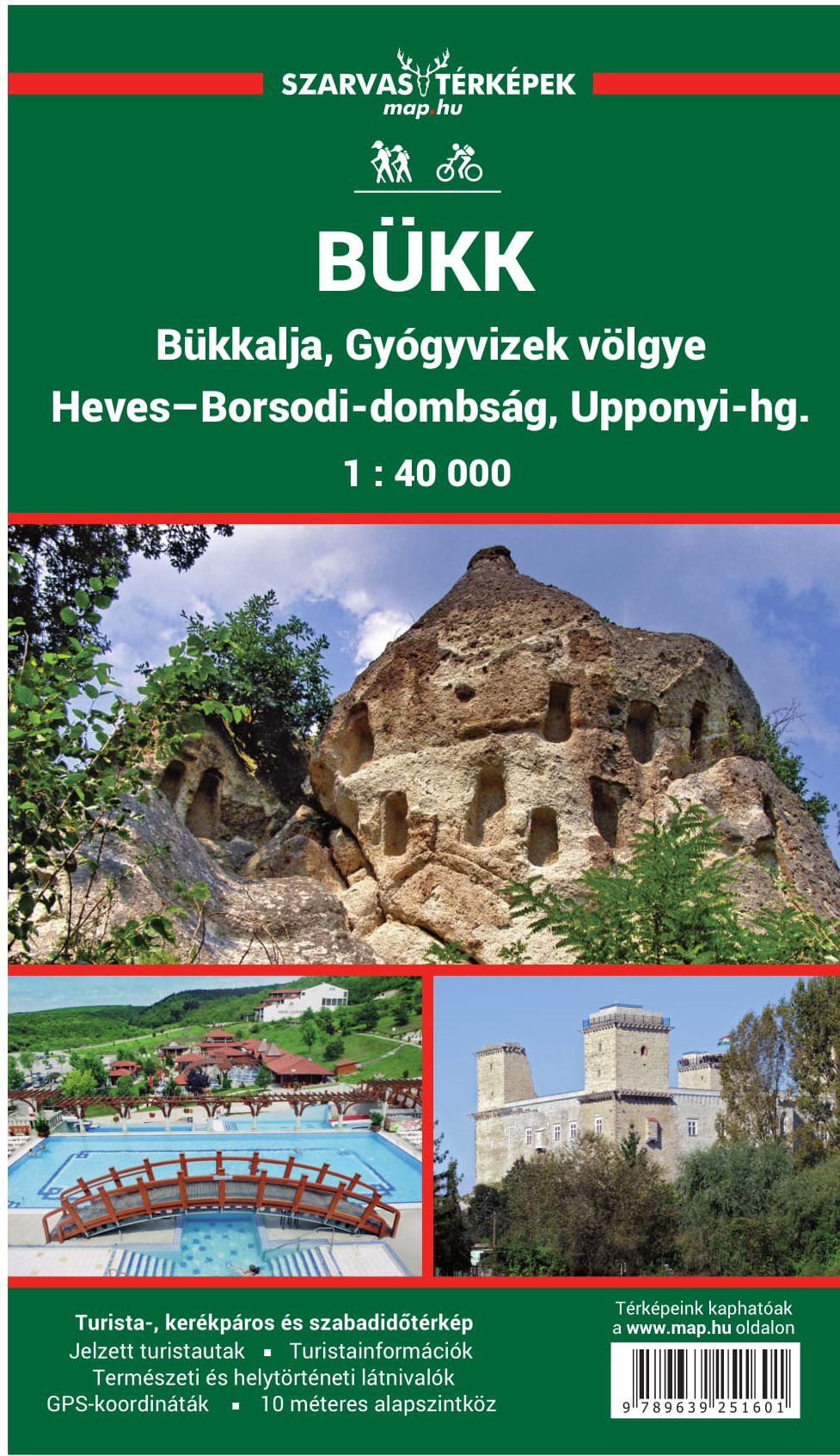 Bükk, Heves-Borsod hills, Uppony hills, Spa-valley  hiking and biking map with detailed leisure time tips, GPS co-ordinates
