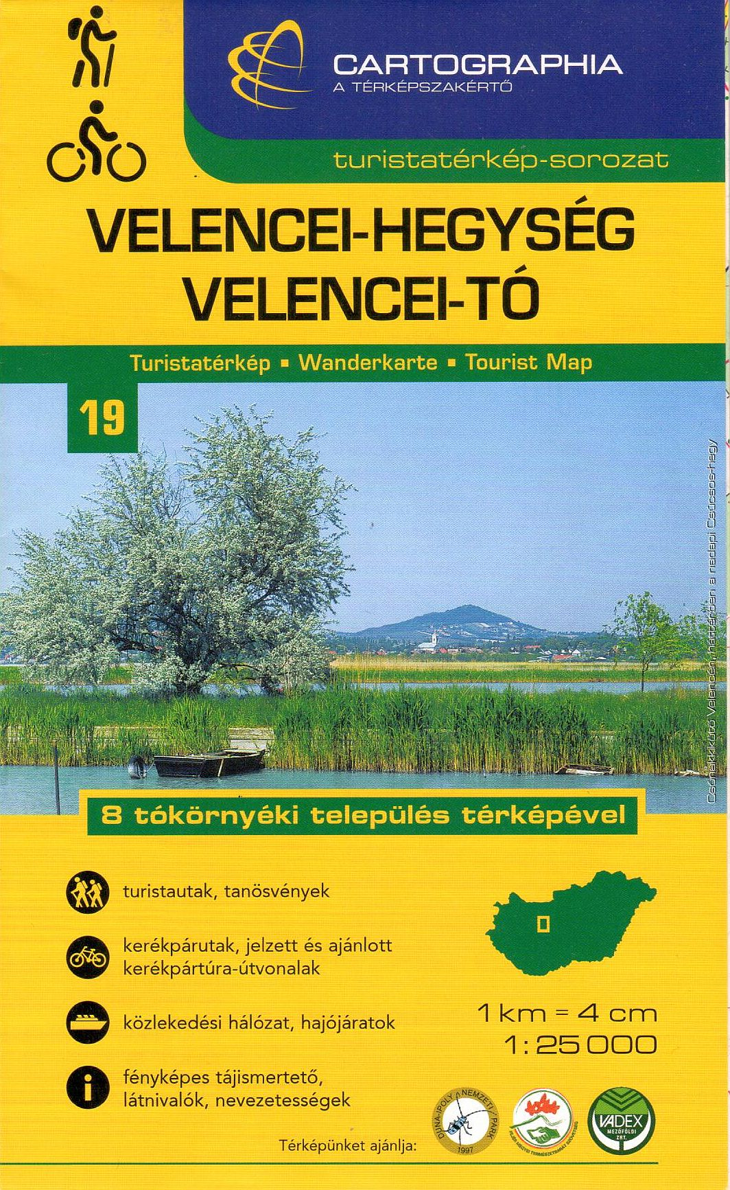 Velence hills and Velence lake watersport, hiking and biking map