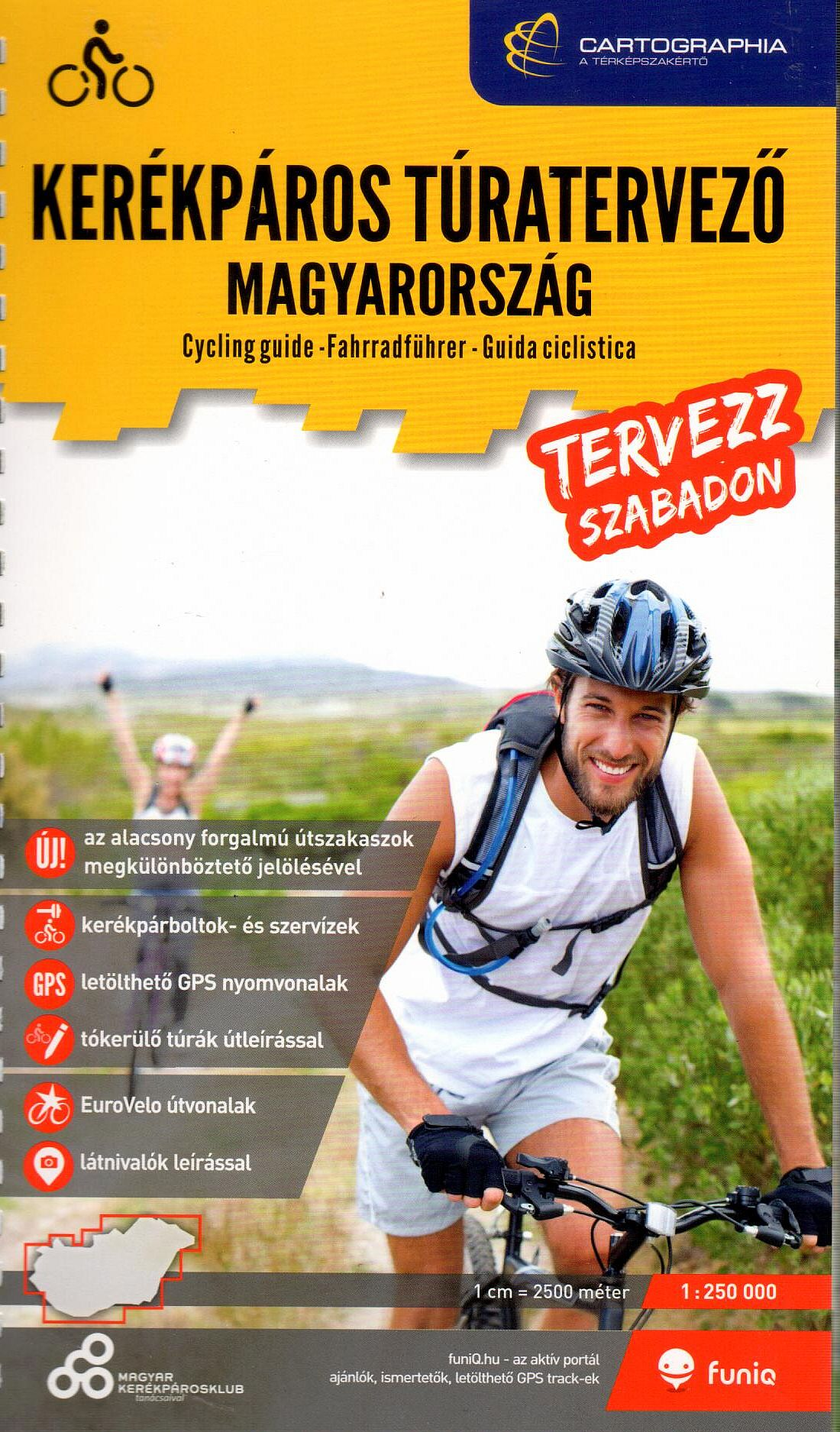 Cycling guide/atlas Hungary with index (text in Hungarian)
