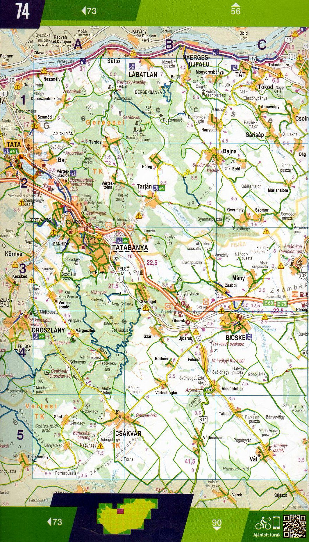 Hungary cycling guide/atlas: map sample 1