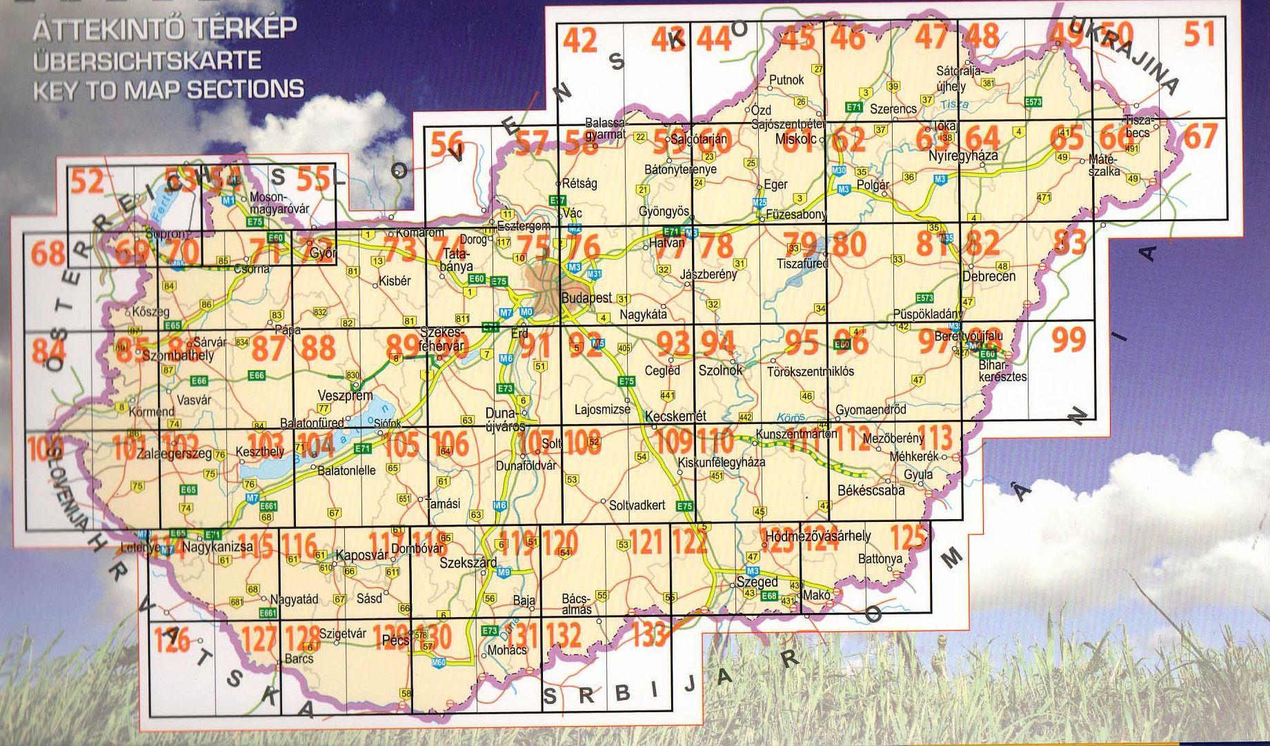 Hungary cycling guide/atlas: map sheet reference