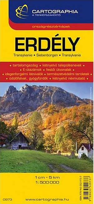 Transilvania road map with tourist informations and index (with historical names