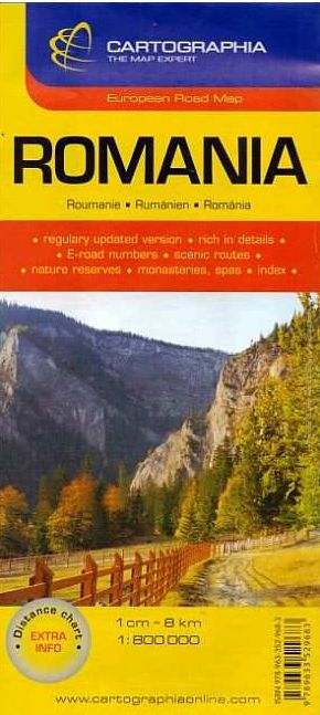 Road map of Romania with index and tourist information