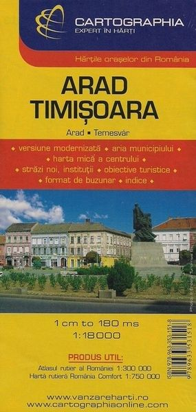 Arad, Timisoara: 2 city maps on one sheet with index of streets and sights