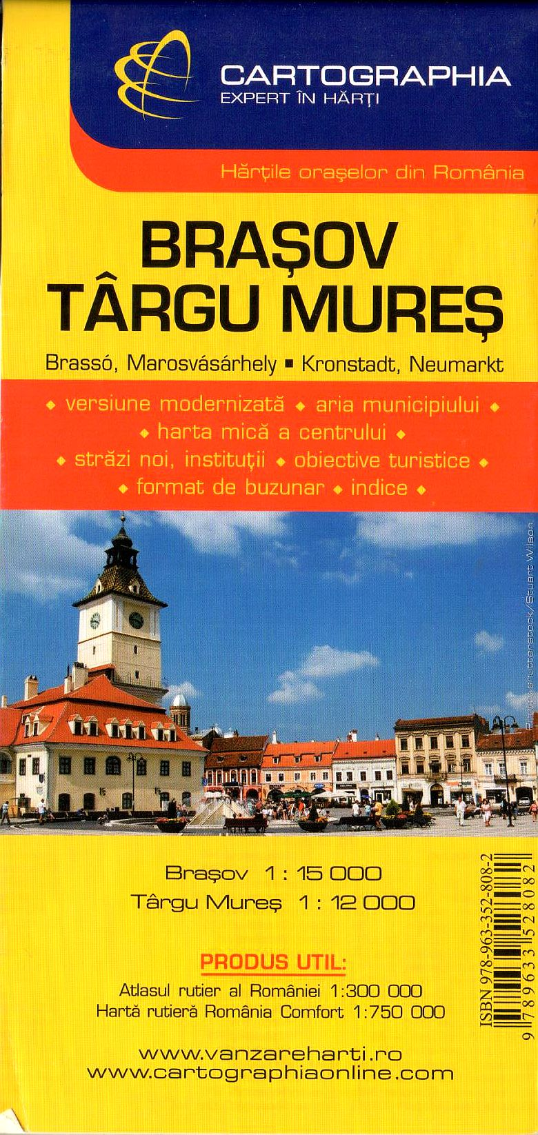 Brasov, Targu Mures:2 city maps on one sheet with index of streets and sights
