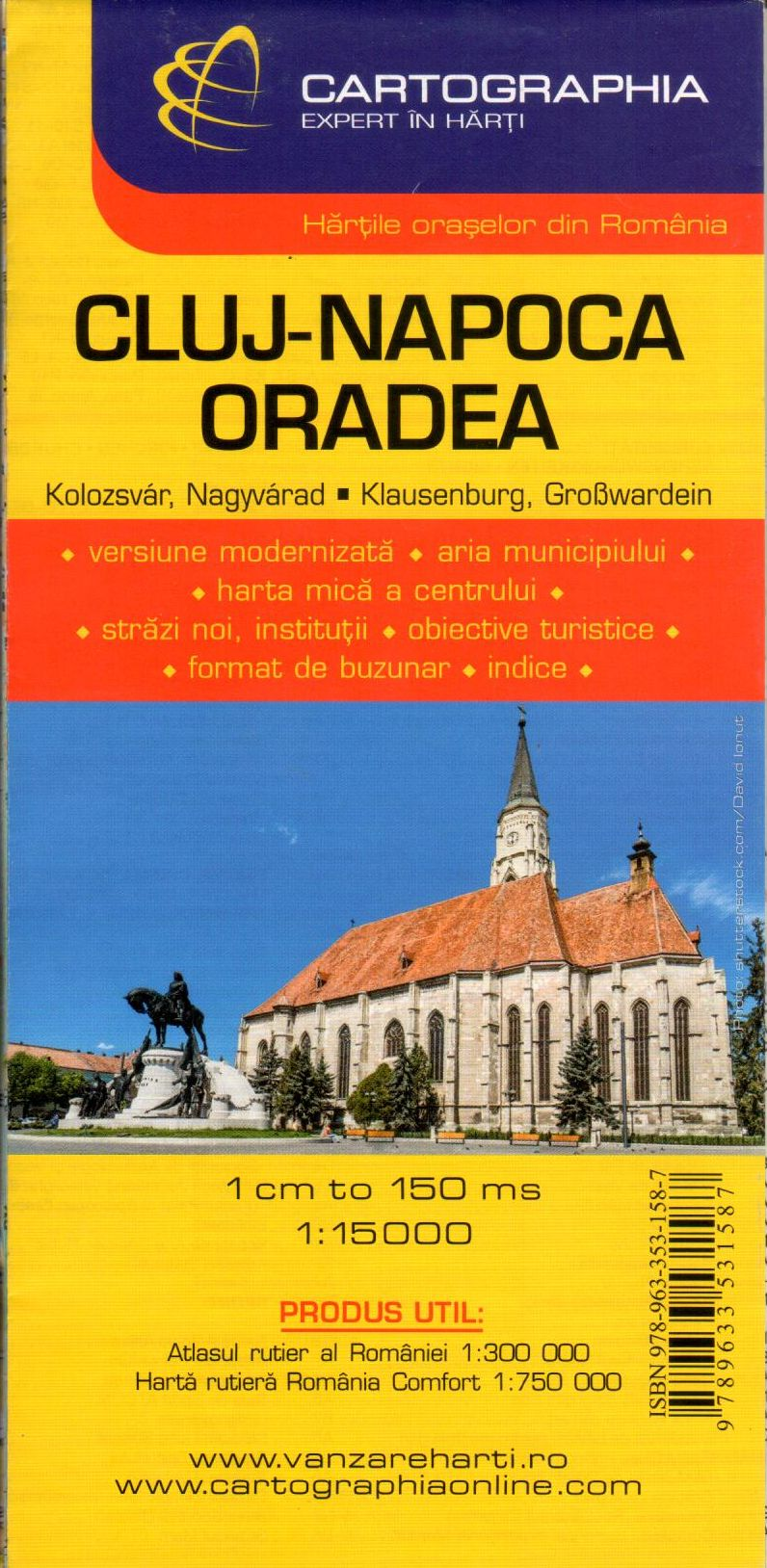 Cluj-Napoca, Oradea: 2 city maps on one sheet with index of streets and sights