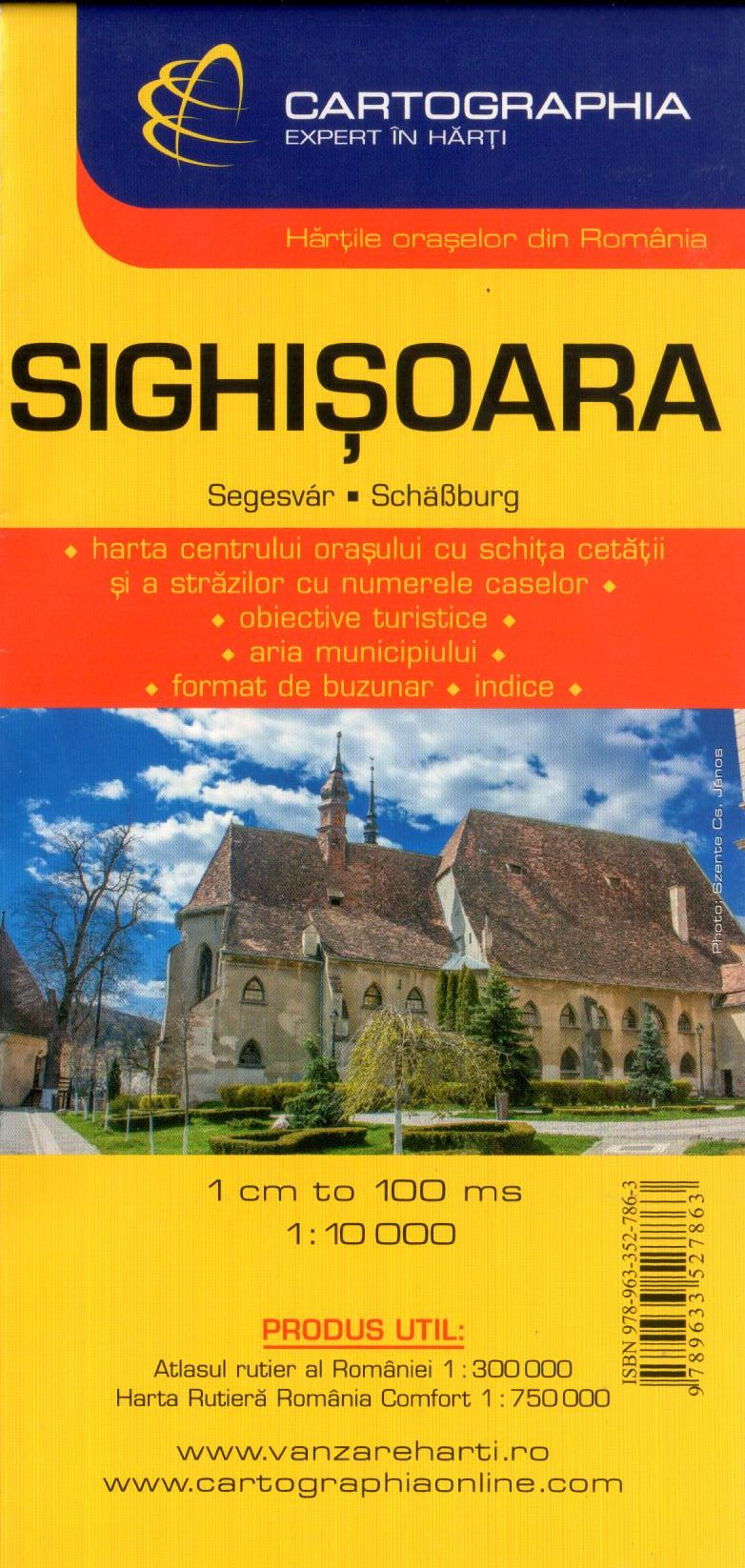 Sighisoara city map with index of streets and sights