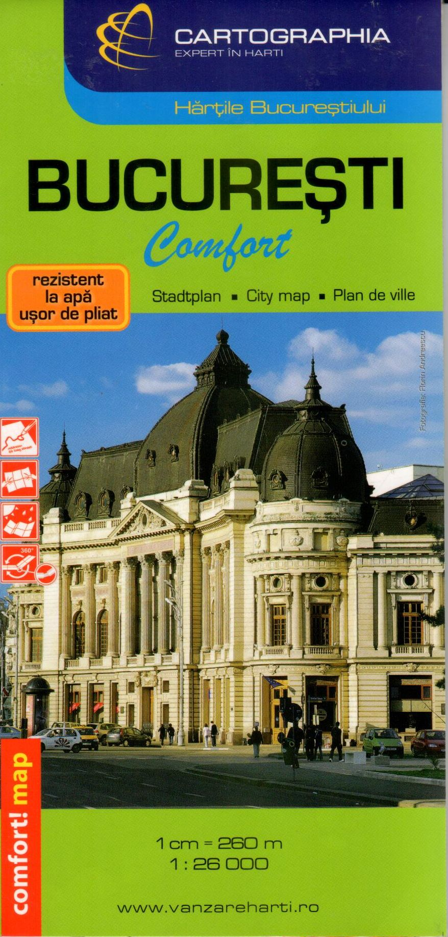 Easy to fold and waterproof laminated map Bucuresti comfort with street index and sights