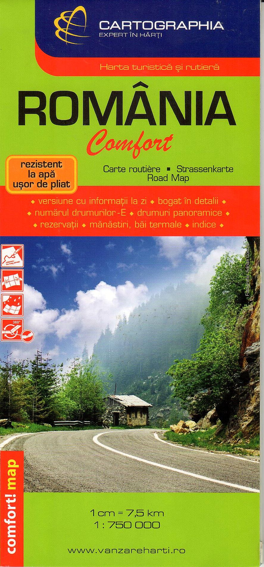 Easy to fold, laminated road map of Romania comfort with index and sights