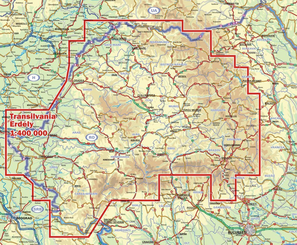 Area covered by the map Transilvania