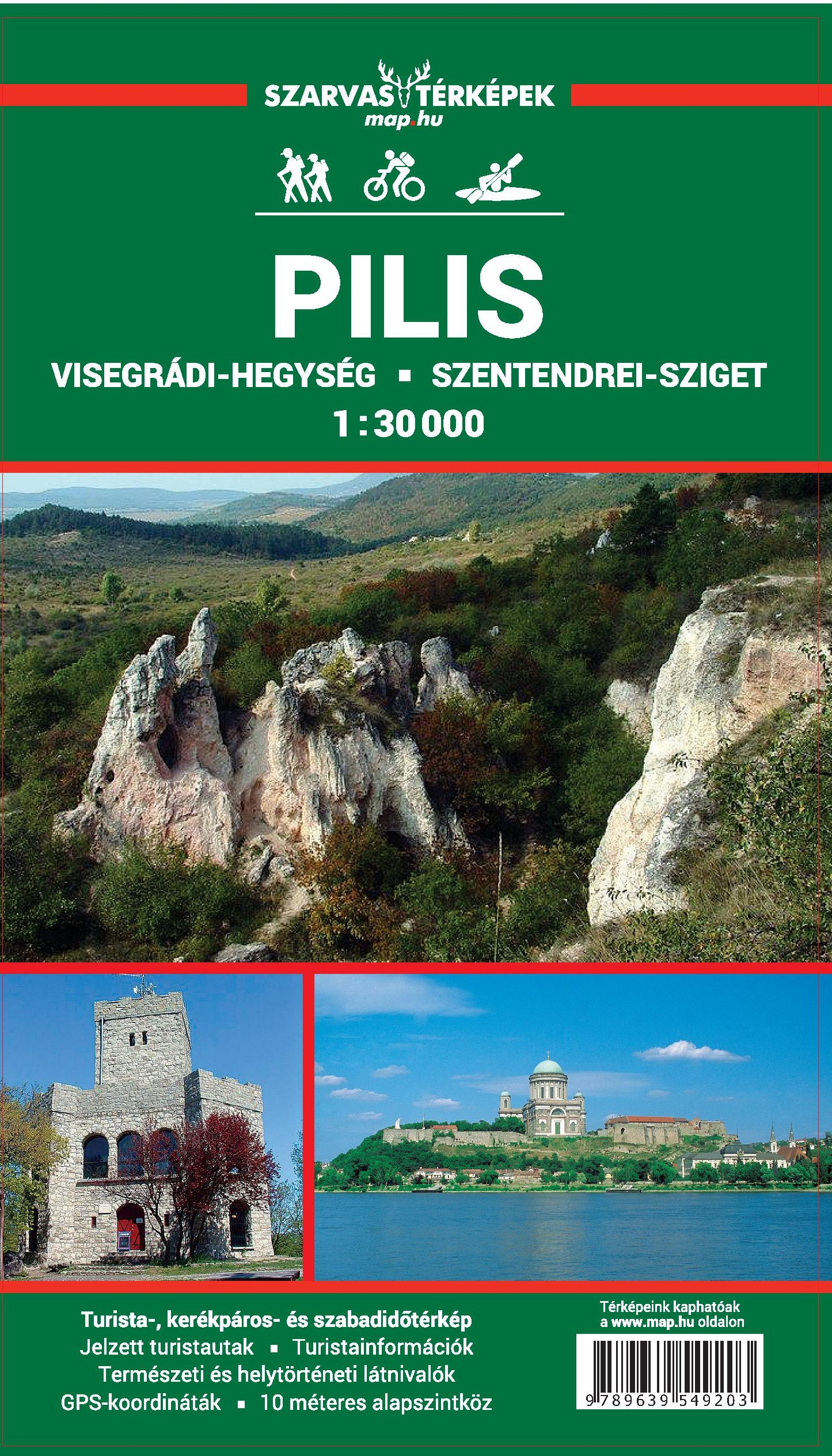 Detailed walking and biking info, GPS co-ordinates. Mini tourist guide with leisure time tips. Inset maps of Esztergom, 1.15.000, Szentendre 1.10.000, Visegrad 1:15.000.