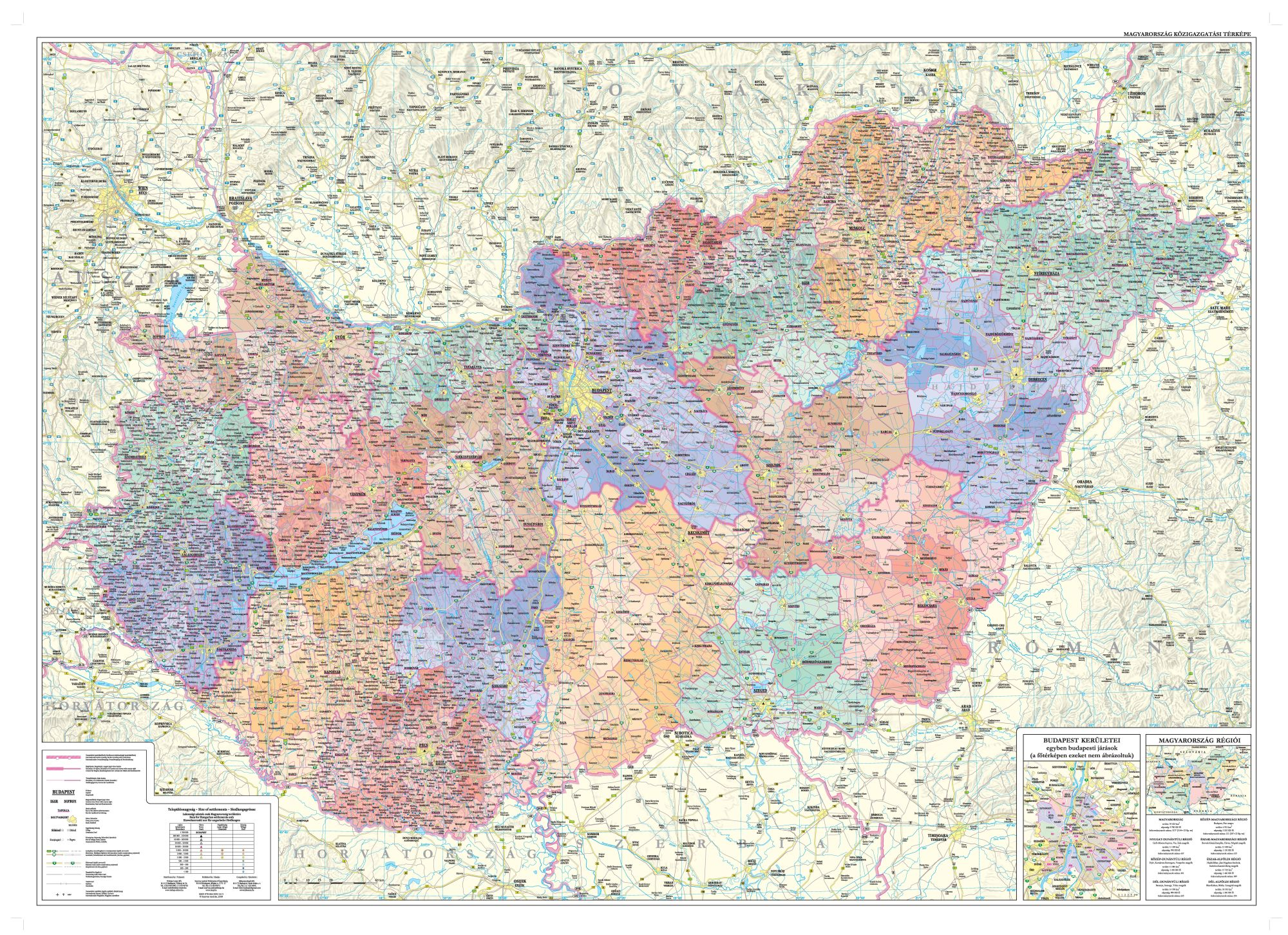 Administrative map of Hungary for mobile devices with detailed road network