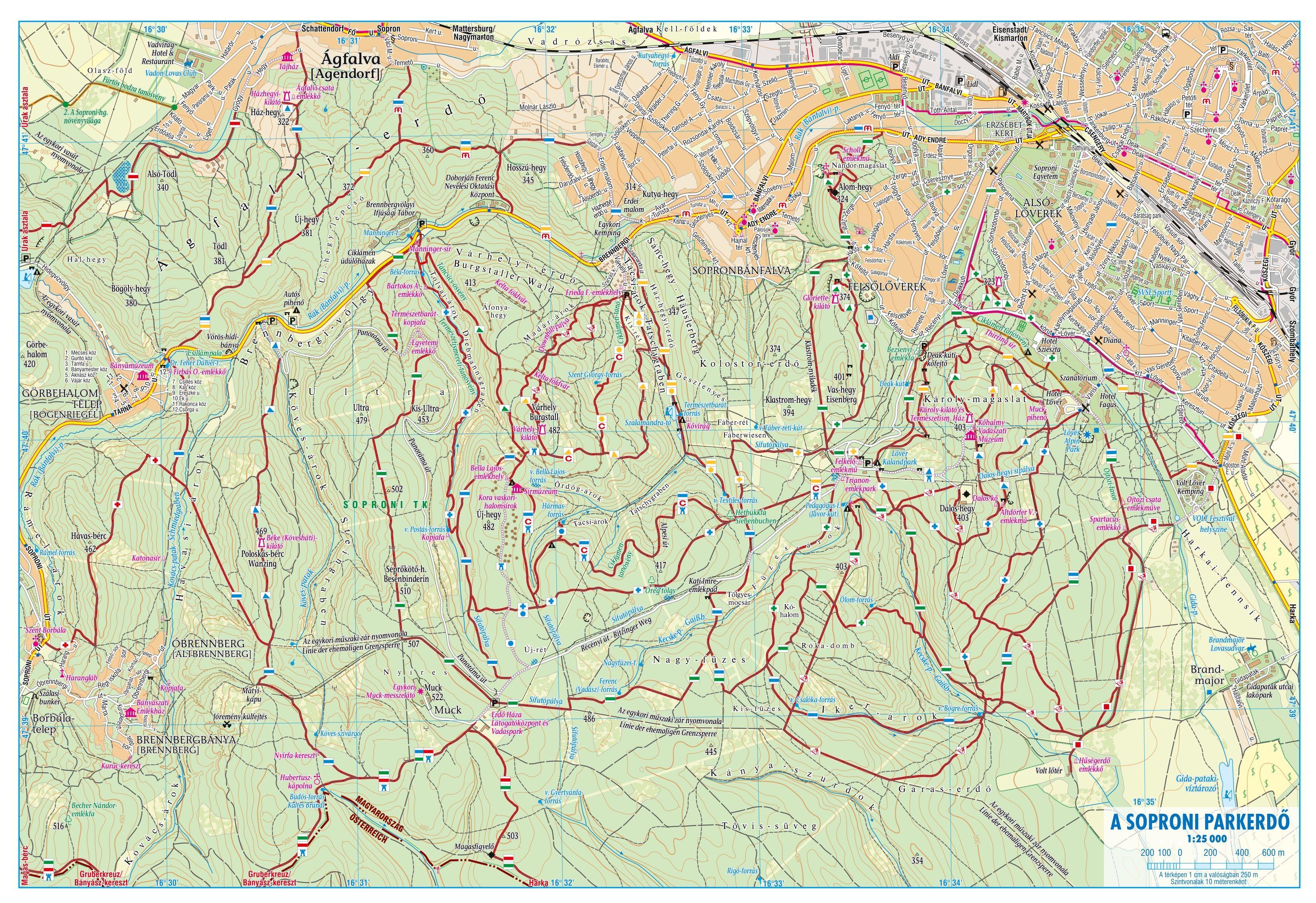 Fertő-Szigetköz: Sample map 1:25.000 Sopron park forest