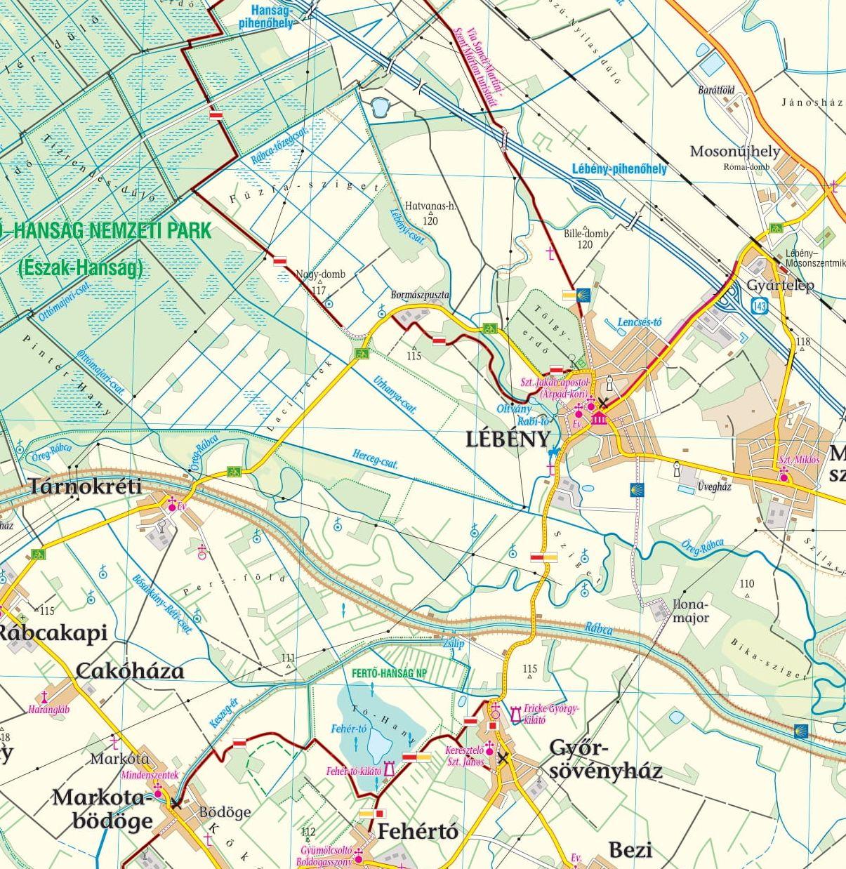 Fertő-Hanság sample map 1:80.000 (Lébény)