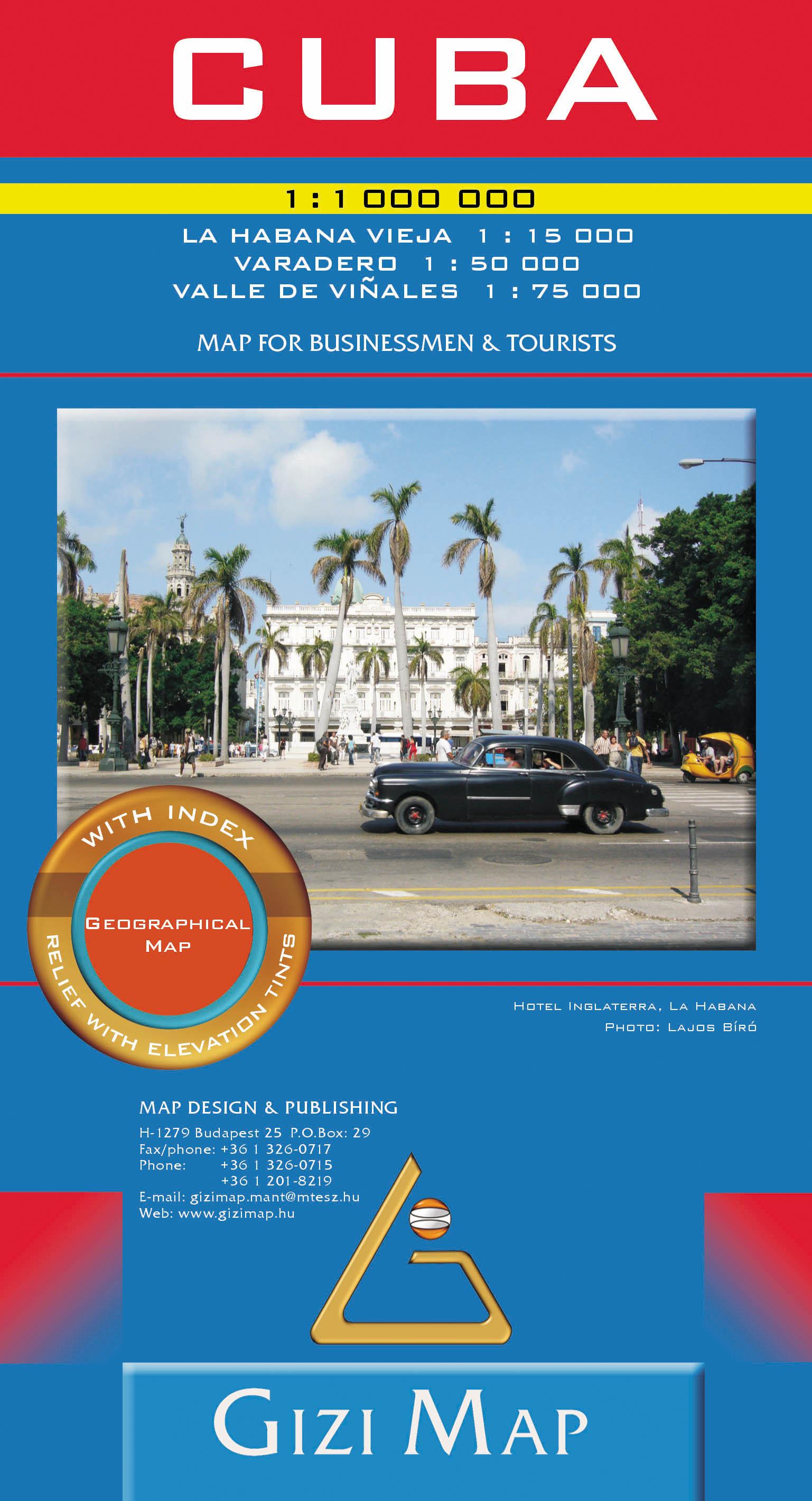 Kuba általános földrajzi térképe autós és turista információkkal