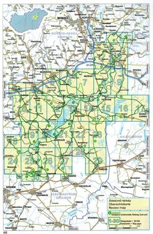 Tisza-tó biciklis atlasz: a térképes oldalak áttekintő lapja
