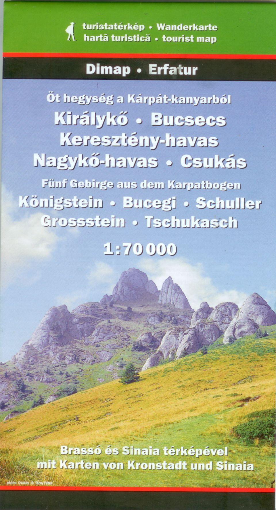 Királykő, Bucsecs, Keresztény-havas, Nagykő-havas, Csukás (jelmagyarázat és turista infók 4 nyelven)