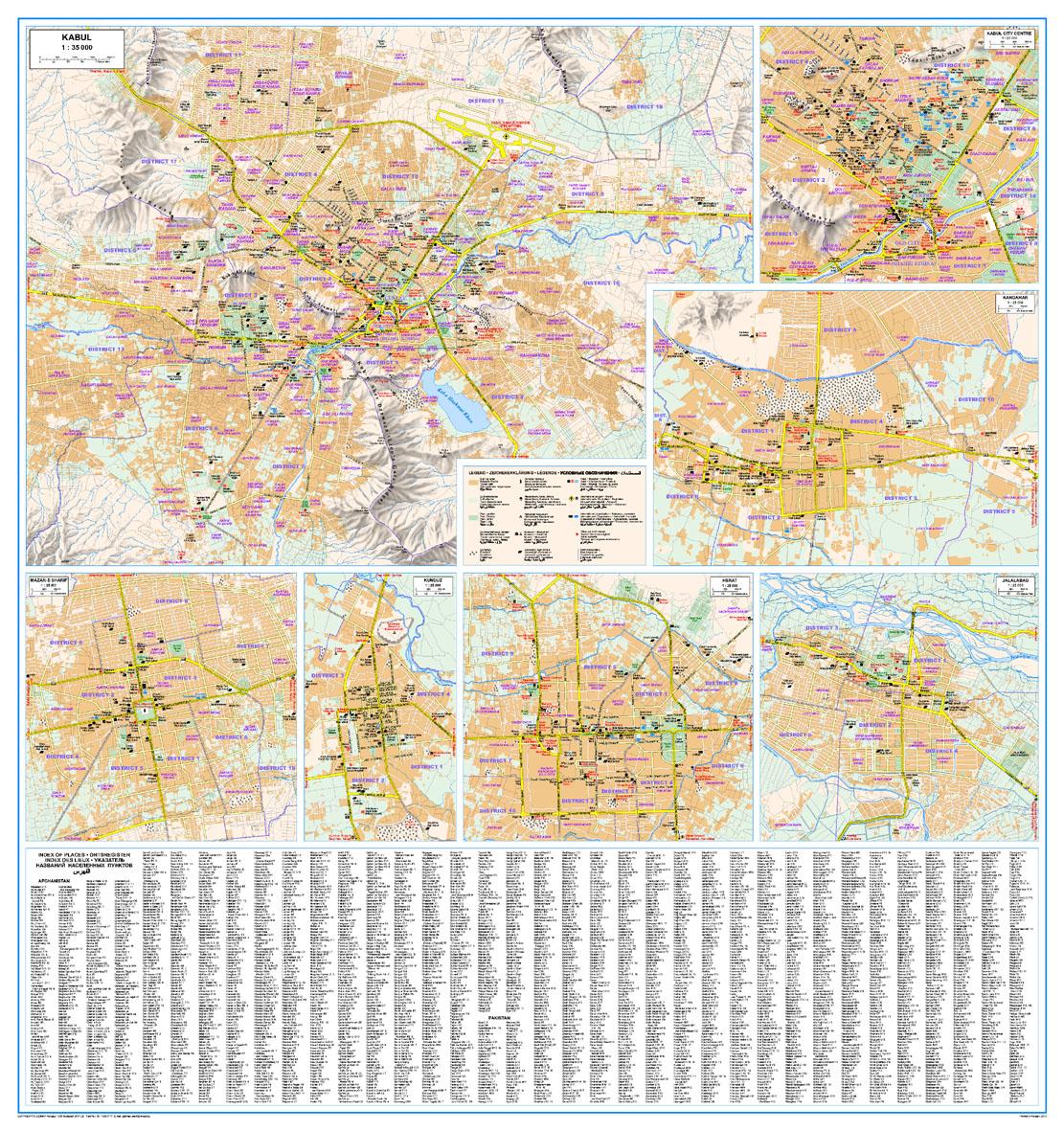 Afganisztán: várostérképek és az index