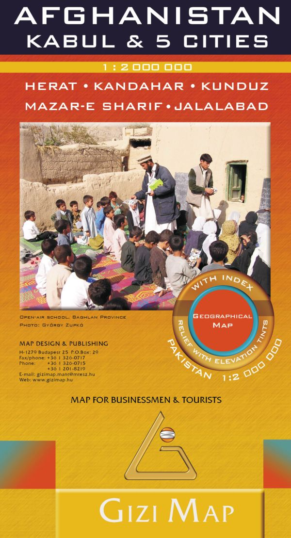 Kabul, Kandahar, Kunduz, Herat, Jalalabad, Mazar-e Sharifvárostérképekkel kiegészített új kiadás, amelyik Pakisztán jelentős területét is ábrázolja