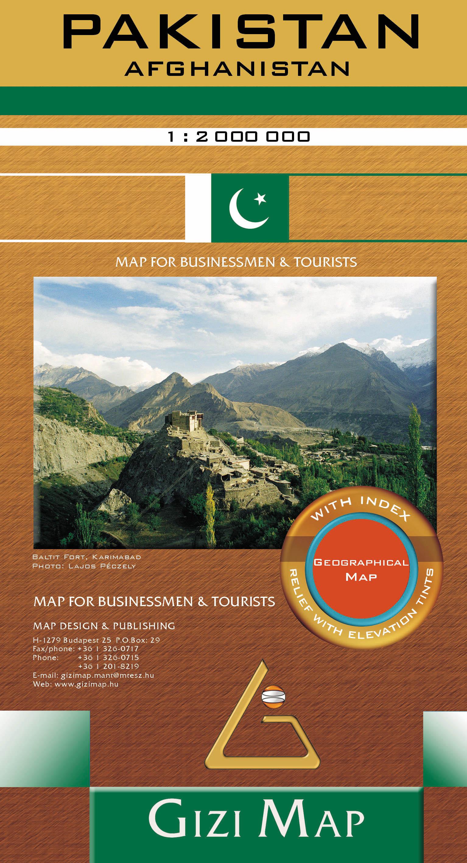 A Pakisztánba utazó turistáknak, hegymászóknak ajánlott térkép, amely Afganisztán területének nagy részét is tartalmazza.