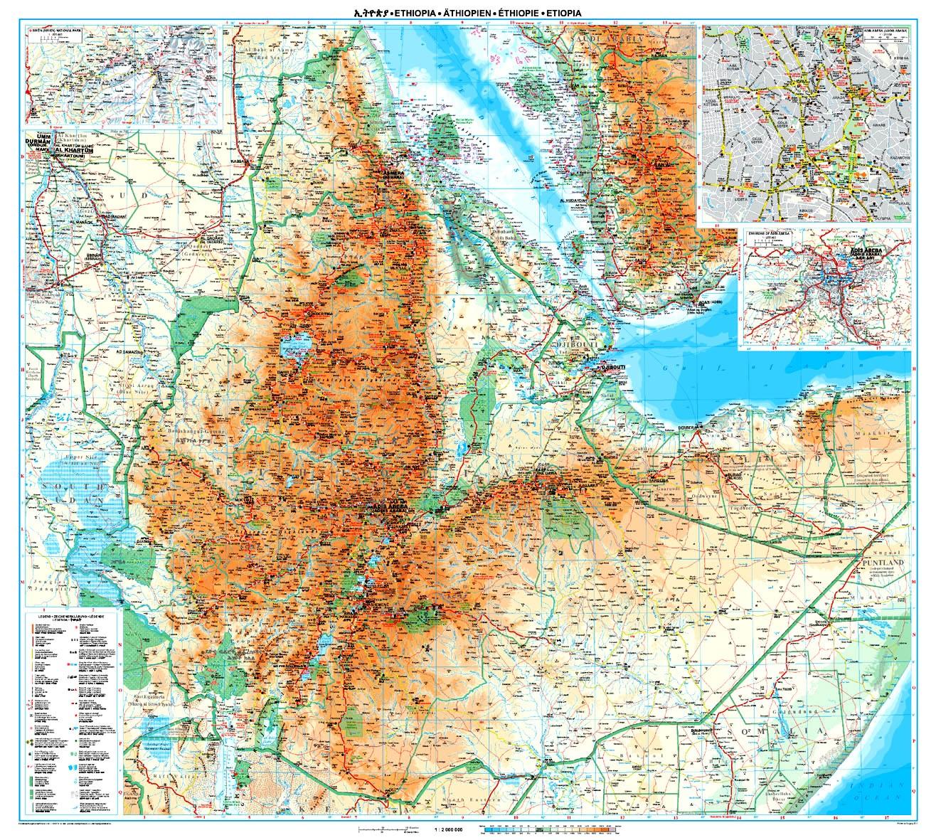 Etiópia áttekintő térkép