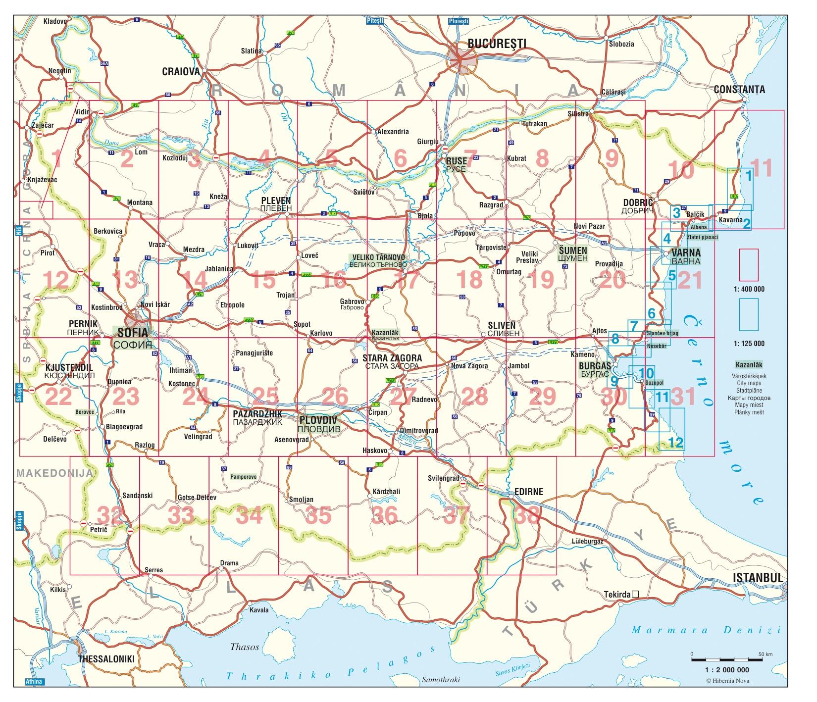Bulgária atlasz áttekintő térkép (1:400.000-es lapok)