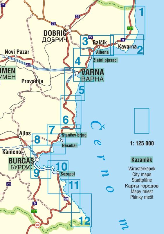 Bulgária atlasz: a tengerpart áttekintő térkép (1:125.000-es lapok)