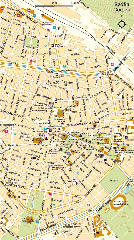 Bulgária atlasz: Szófia várostérkép