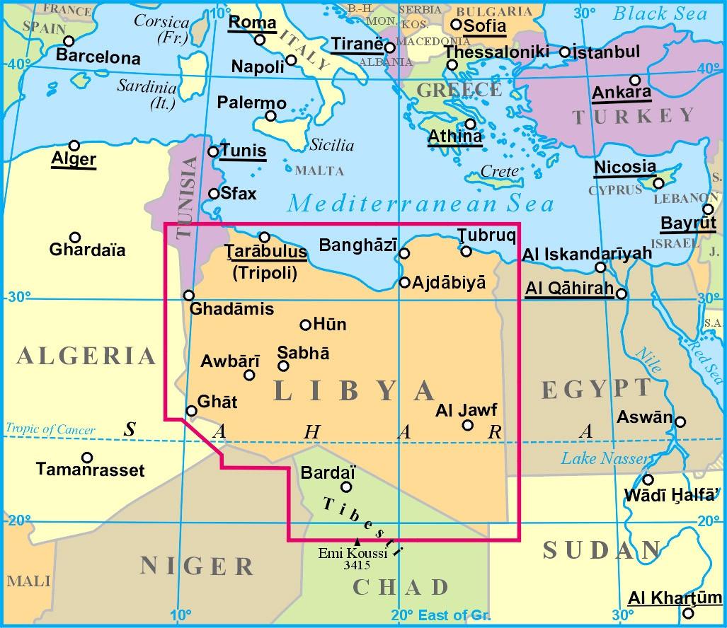 Libia elhelyezkedése a térképen